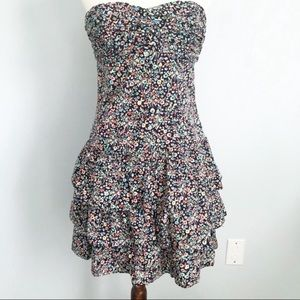 Express Floral Strapless Tiered Ruffle Dress